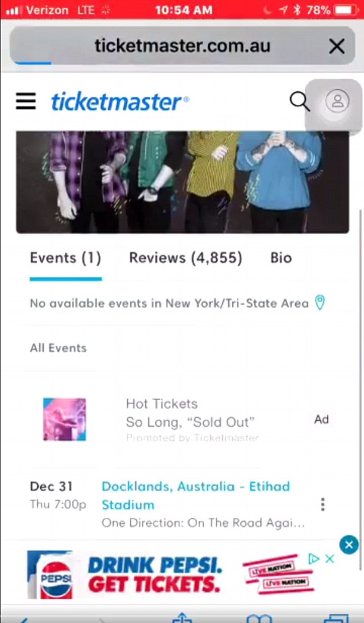 A One Direction tour date popped up on Ticketmaster   Girlfriend