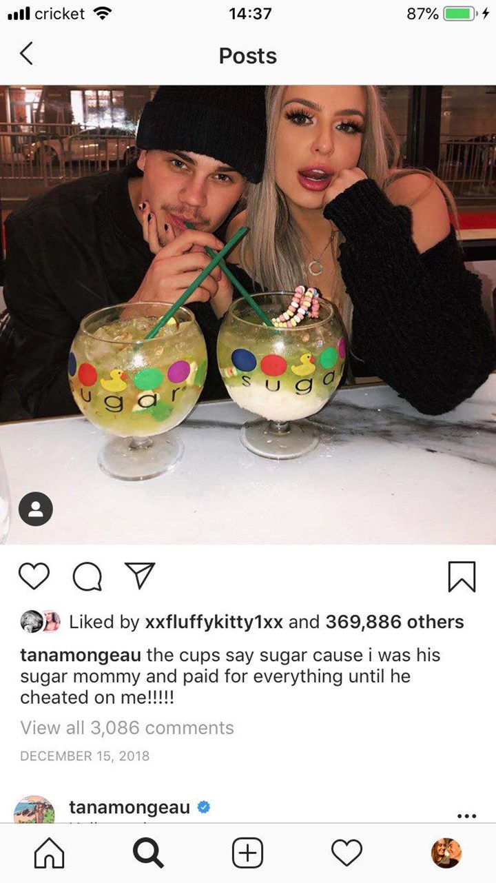 Tana Mongeau's shares hilarious Instagram captions about her ex