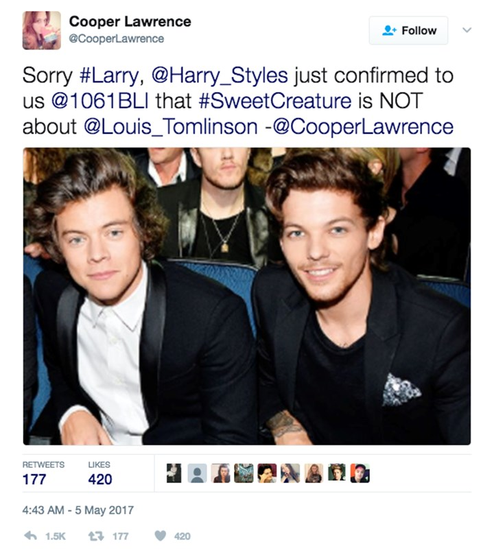Harry and louis one direction dating black and white dating sites in south africa